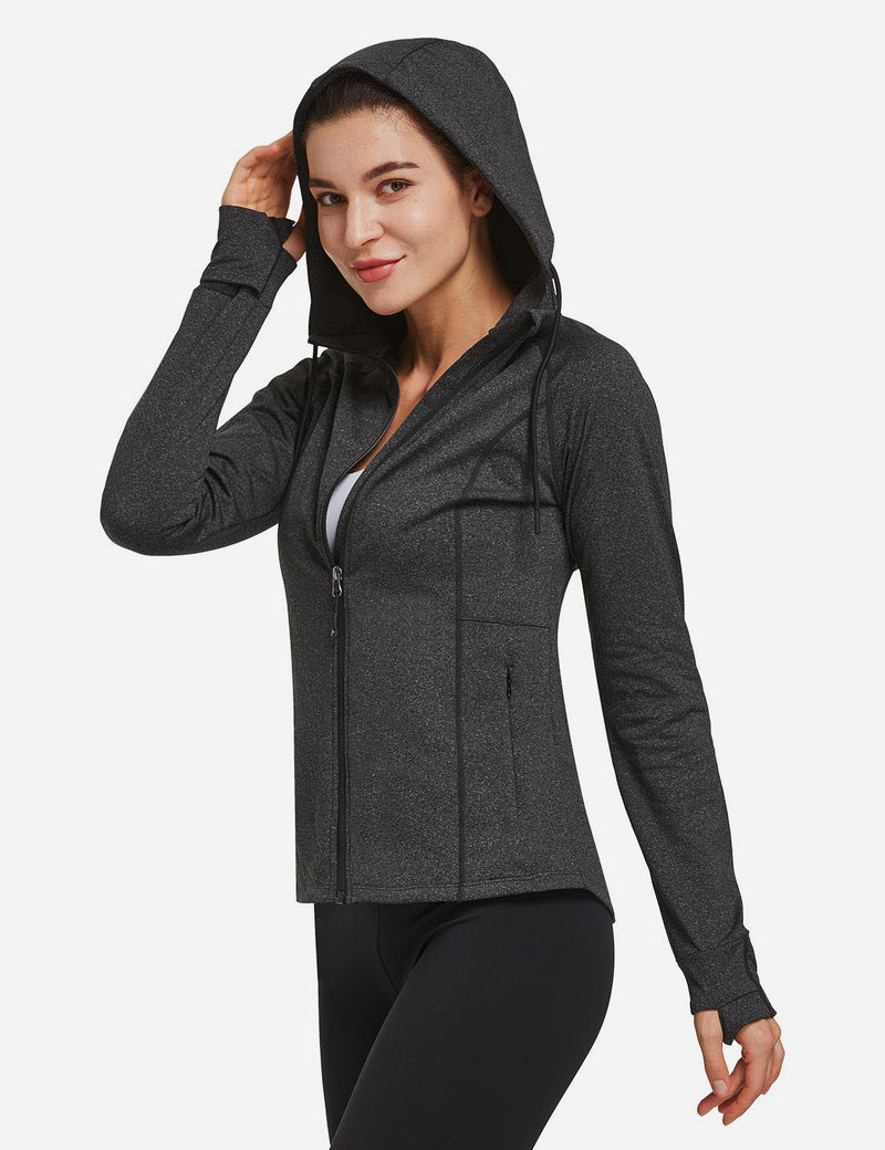 BALEAF Womens Full Zip Athletic Running Jackets Hooded Sport Track Jackets with Thumb Holes