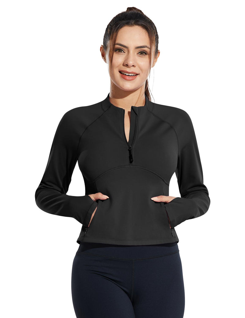 Baleaf Womens Micro Fleece Cropped Length Mock Neck Pocketed Pullover w Thumbholes Black Front