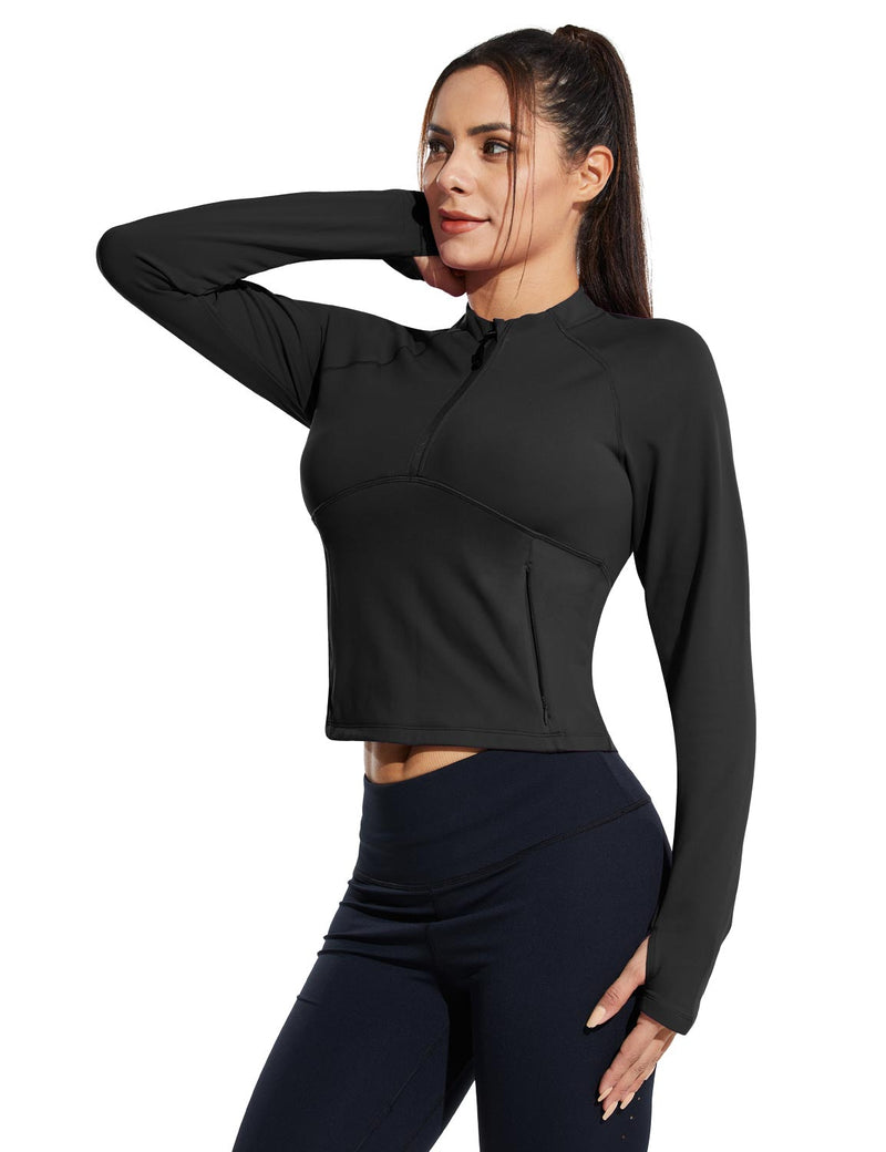 Baleaf Womens Micro Fleece Cropped Length Mock Neck Pocketed Pullover w Thumbholes Black Side