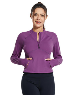 Baleaf Womens Micro Fleece Cropped Length Mock Neck Pocketed Pullover w Thumbholes Purple Front