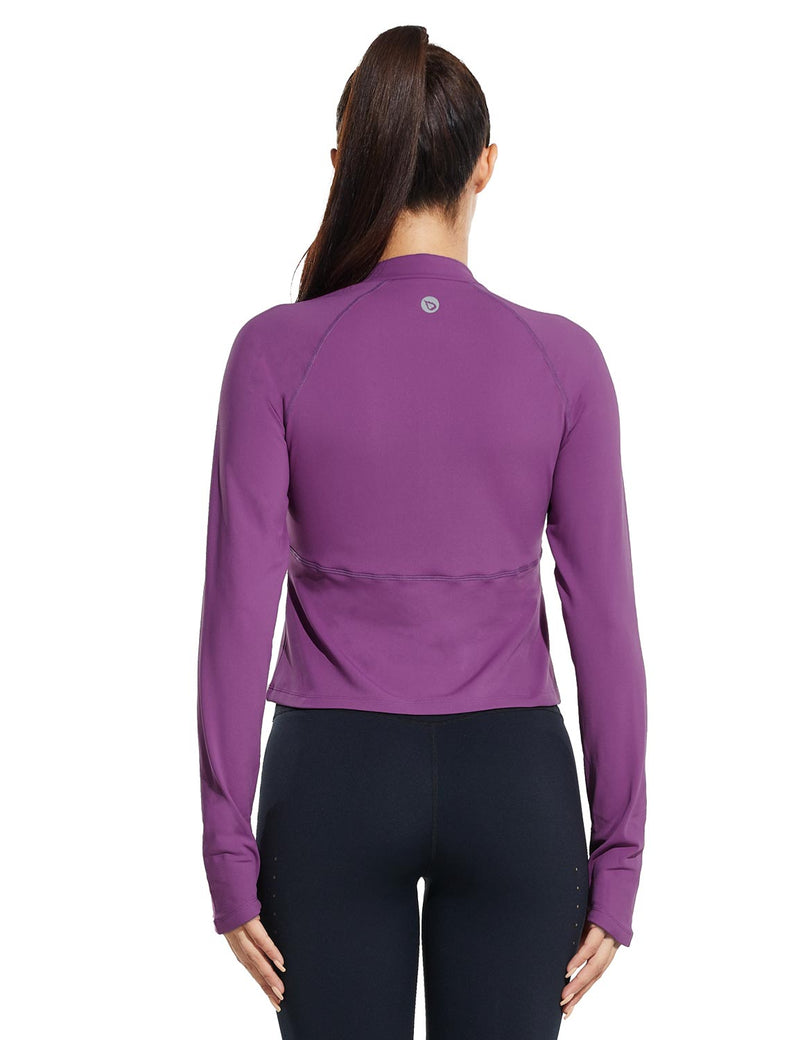 Baleaf Womens Micro Fleece Cropped Length Mock Neck Pocketed Pullover w Thumbholes Purple Back