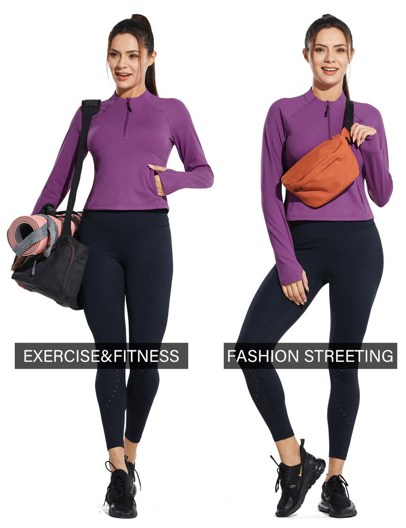 Baleaf Womens Micro Fleece Cropped Length Mock Neck Pocketed Pullover w Thumbholes Purple Ocassion