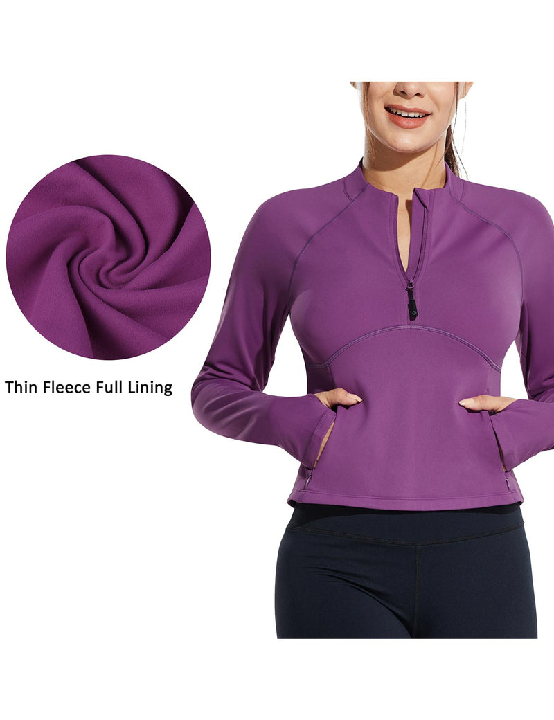 Baleaf Womens Micro Fleece Cropped Length Mock Neck Pocketed Pullover w Thumbholes Purple Details