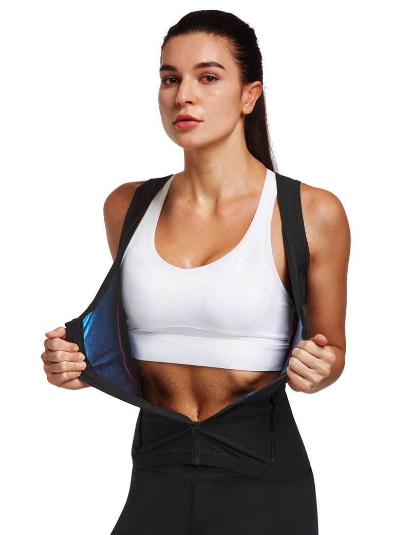 Baleaf Womens Premium Full Zipper Sauna Tank Top Black Front
