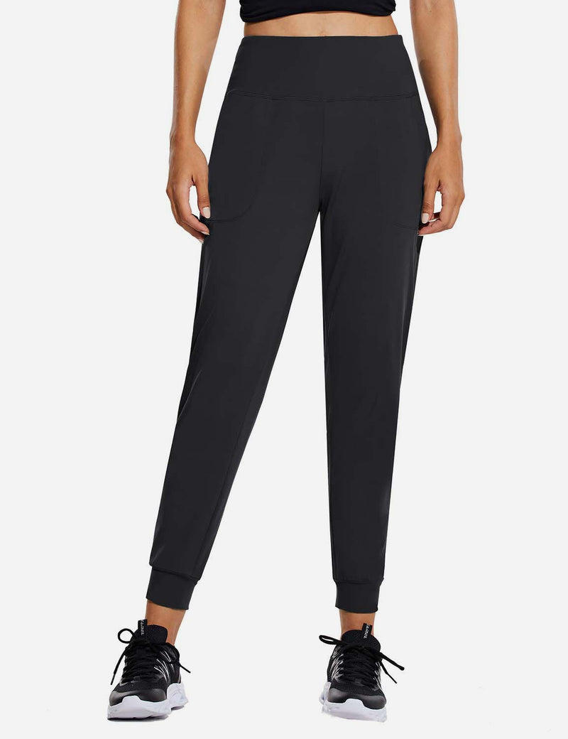 Baleaf Womens High Rise Tapered Cuffs Comfy Pocketed Joggers Black Front