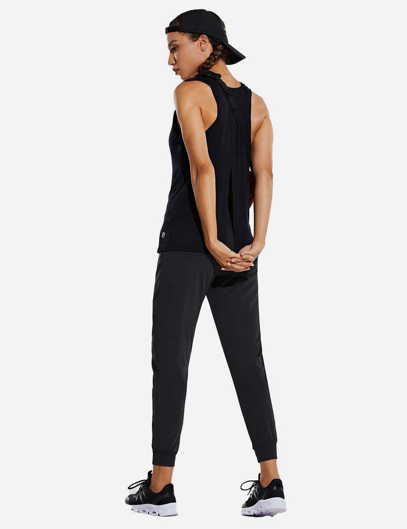 Baleaf Womens High Rise Tapered Cuffs Comfy Pocketed Joggers Black Full