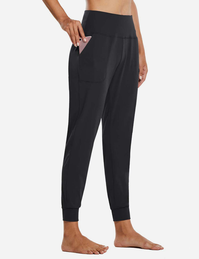 Baleaf Womens High Rise Tapered Cuffs Comfy Pocketed Joggers Black Side