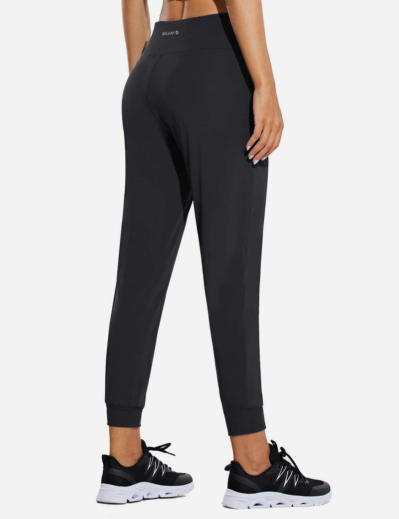 Baleaf Womens High Rise Tapered Cuffs Comfy Pocketed Joggers Black Back