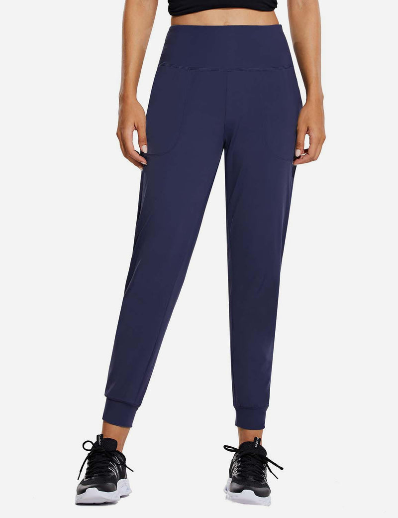 Baleaf Womens High Rise Tapered Cuffs Comfy Pocketed Joggers Navy Front