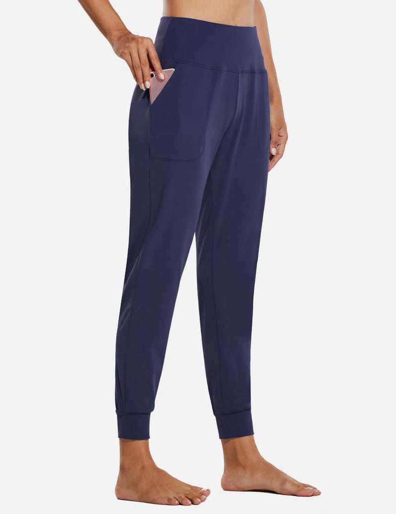 Baleaf Womens High Rise Tapered Cuffs Comfy Pocketed Joggers Navy Side