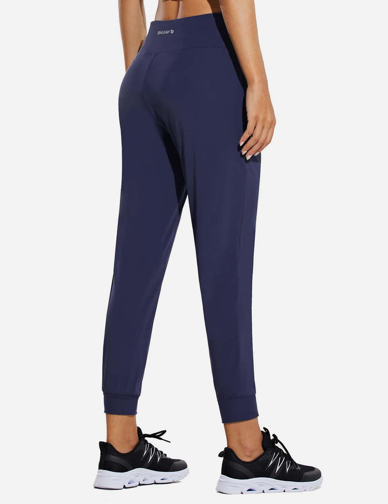Baleaf Womens High Rise Tapered Cuffs Comfy Pocketed Joggers Navy Back