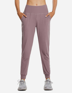 Baleaf Womens High Rise Tapered Cuffs Comfy Pocketed Joggers Pink Front