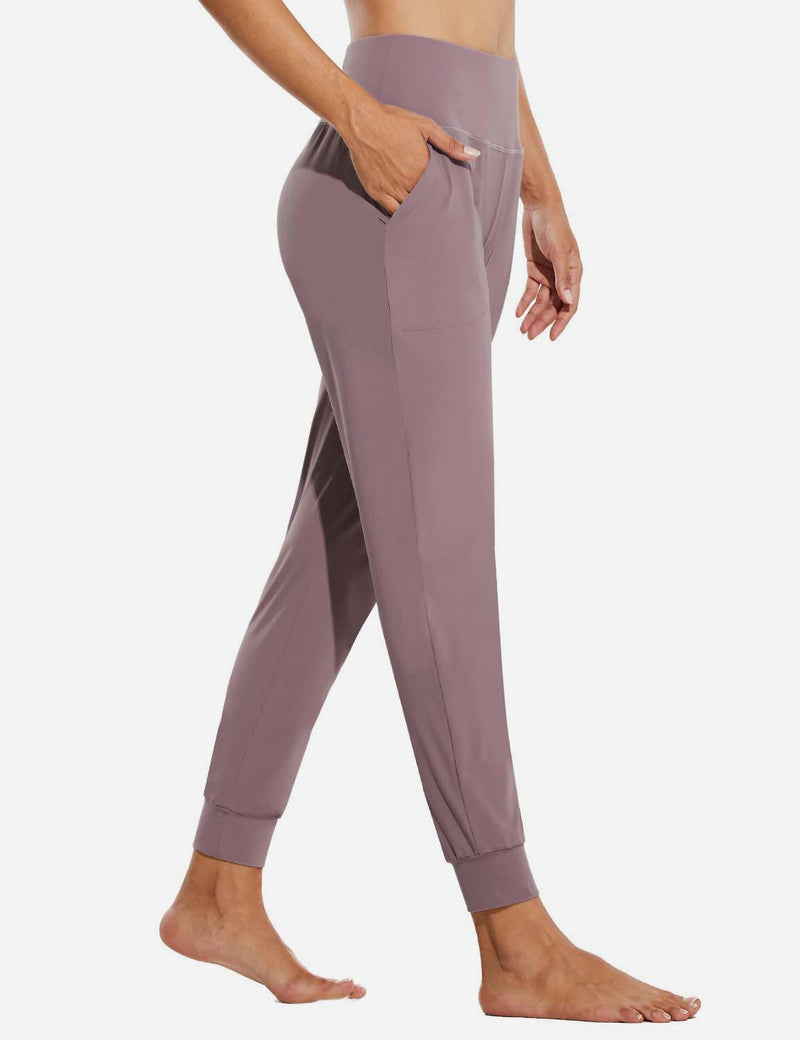 Baleaf Womens High Rise Tapered Cuffs Comfy Pocketed Joggers Pink Side