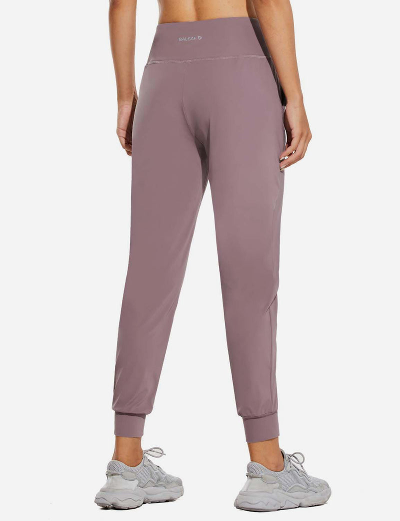 Baleaf Womens High Rise Tapered Cuffs Comfy Pocketed Joggers Pink Back