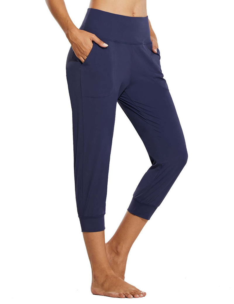 Baleaf Womens High Rise Tapered Fit Side Pocketed Workout Capris Navy Front