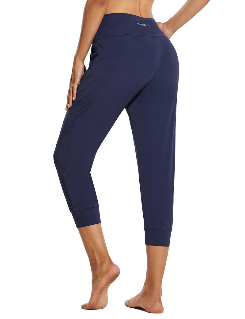 Baleaf Womens High Rise Tapered Fit Side Pocketed Workout Capris Navy Back