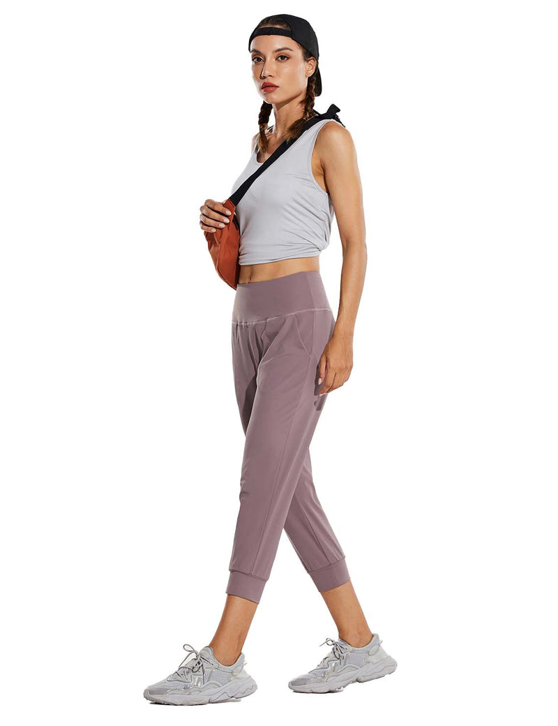 Baleaf Womens High Rise Tapered Fit Side Pocketed Workout Capris Pink Full