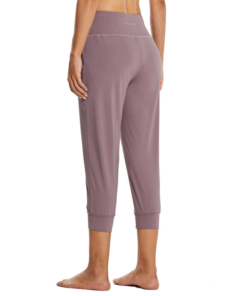 Baleaf Womens High Rise Tapered Fit Side Pocketed Workout Capris Pink Back