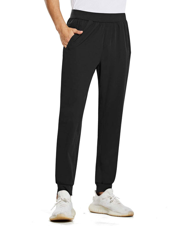 Baleaf Mens Quick Dry Tapered Pocketed Casual Joggers Black Front