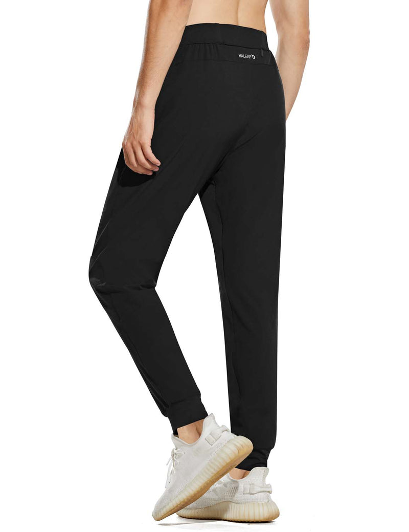 Baleaf Mens Quick Dry Tapered Pocketed Casual Joggers Black Back