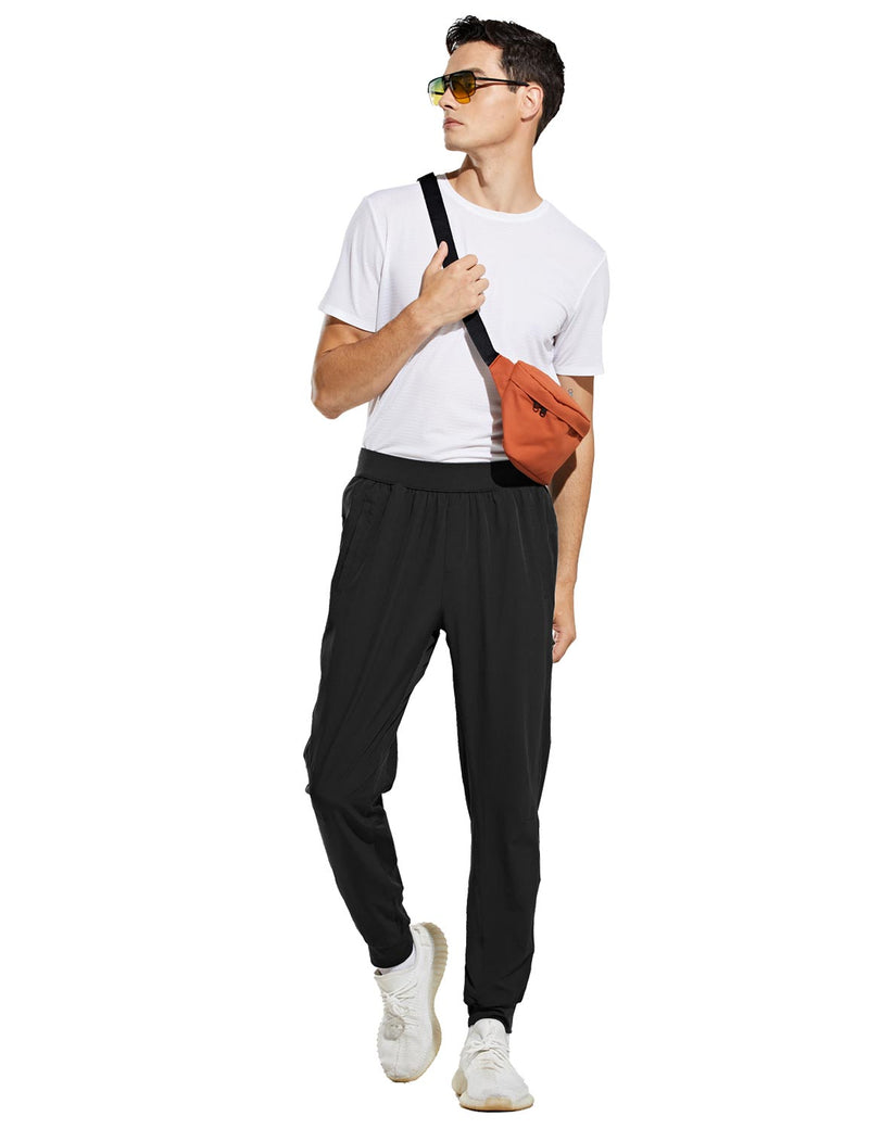 Baleaf Mens Quick Dry Tapered Pocketed Casual Joggers Black Full