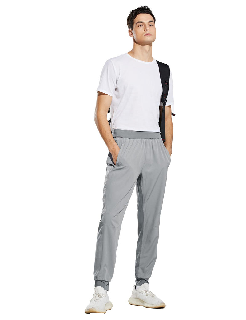 Baleaf Mens Quick Dry Tapered Pocketed Casual Joggers Light Gray Full