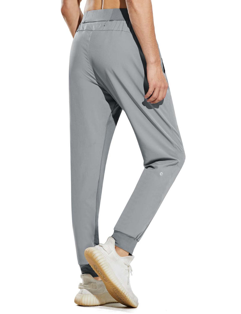 Baleaf Mens Quick Dry Tapered Pocketed Casual Joggers Light Gray Back