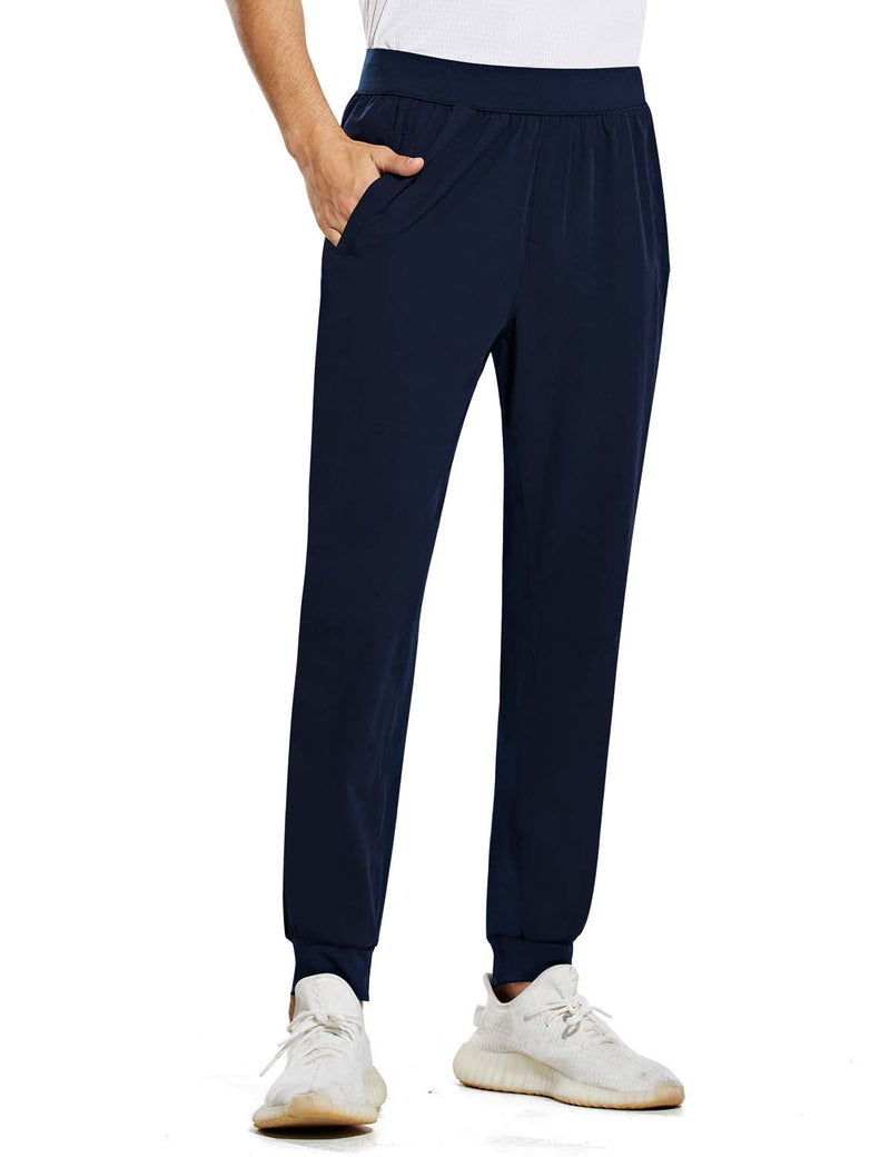 Baleaf Mens Quick Dry Tapered Pocketed Casual Joggers Navy Front