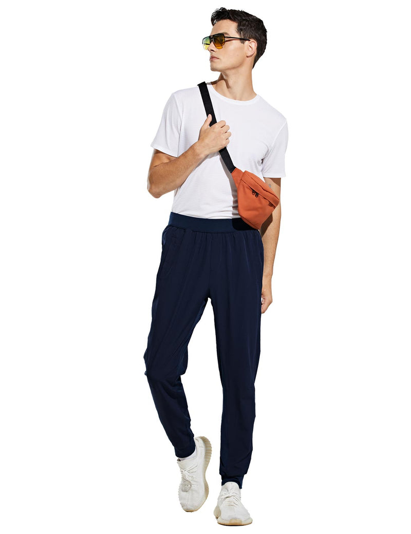 Baleaf Mens Quick Dry Tapered Pocketed Casual Joggers Navy Full