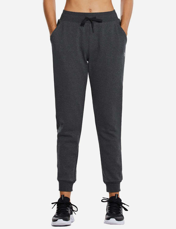 Baleaf Womens Mid Rise Thermal Tapered Pocketed Sweatpants & Joggers Charcoal Front
