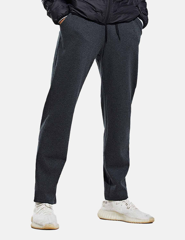 Baleaf Mens Fleece Lined Loose Fit Pocketed Joggers & Sweatpants Heather Gray Front