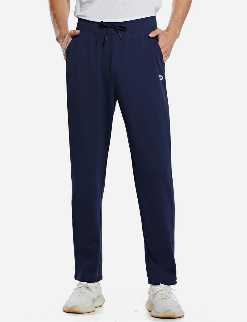 Baleaf Mens Fleece Lined Loose Fit Pocketed Joggers & Sweatpants Navy Front