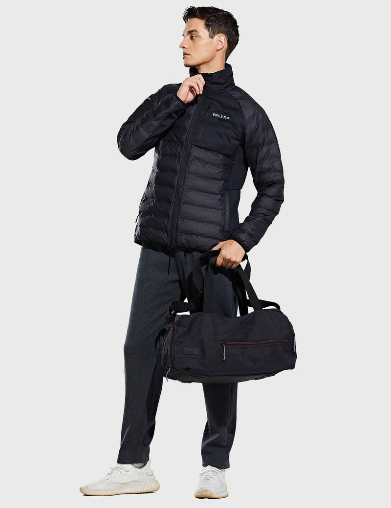 Baleaf Mens Thermal Lightweight Full Zip Pocketed Puffer Jacket Black Full