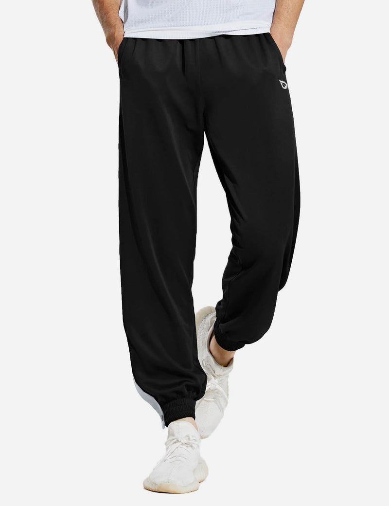 Baleaf mens Tear Away Loose Fit Active Workout Pants black front