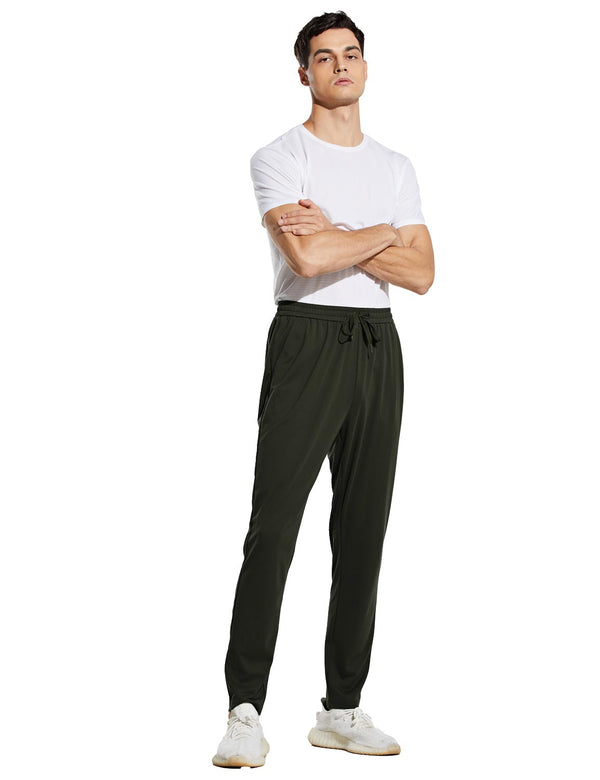 Baleaf Mens Slim Fit Side Pocketed Tapered Casual Weekend Sweatpants Green Full