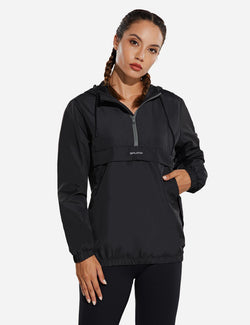 Baleaf Womens Water Resistant Half Zip Hooded Windbreaker w Kangaroo Pocket Gray Side