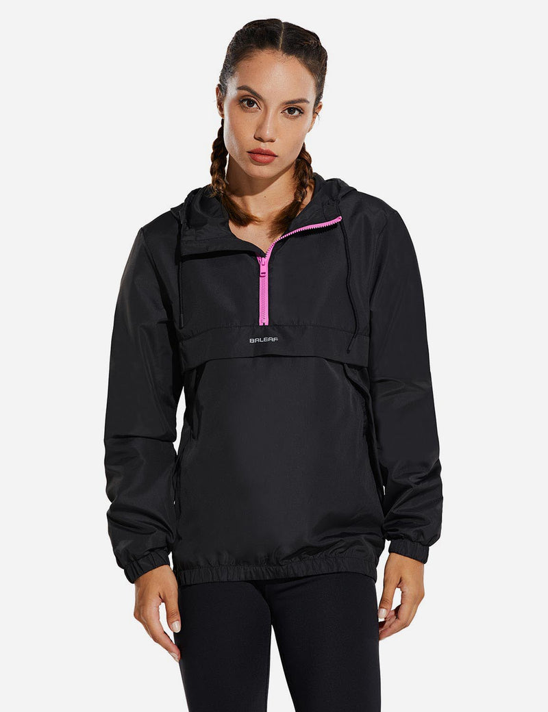 Baleaf Womens Water Resistant Half Zip Hooded Windbreaker w Kangaroo Pocket Pink Front