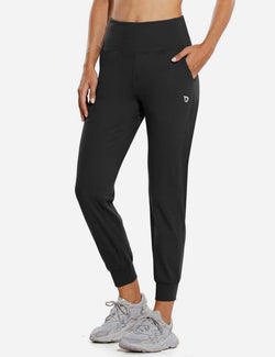 Baleaf Womens High Rise Double Brushed Tapered Side Pocketed Joggers Black Front