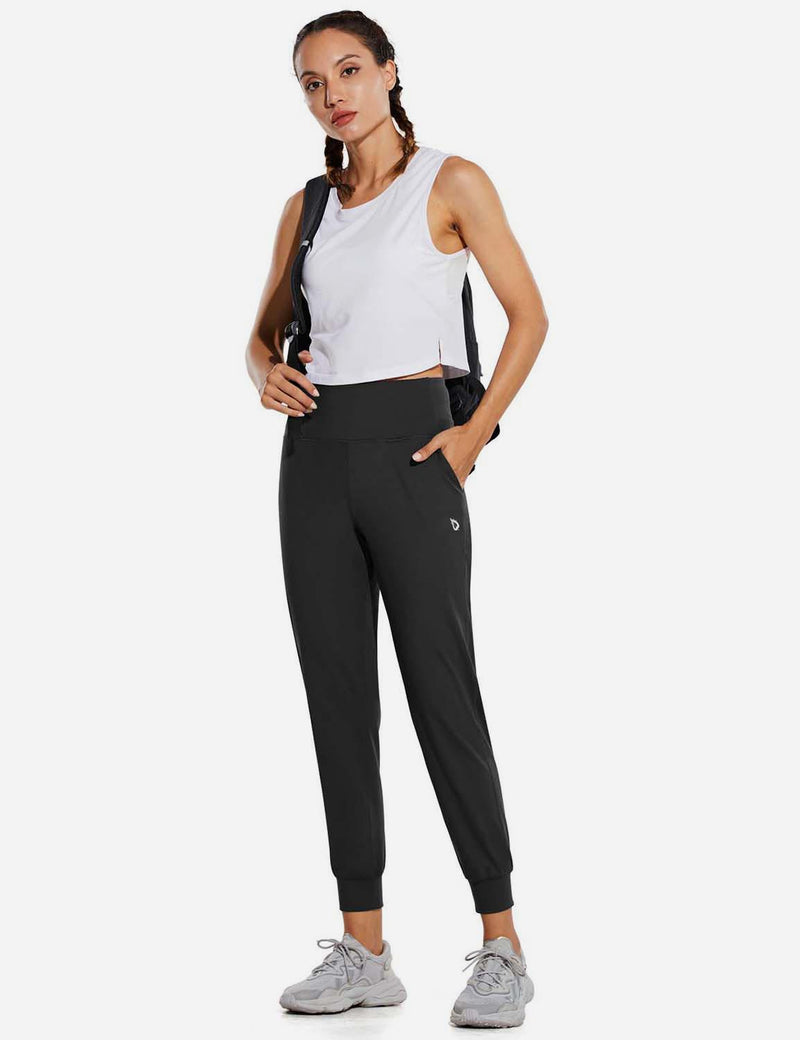 Baleaf Womens High Rise Double Brushed Tapered Side Pocketed Joggers Black Full