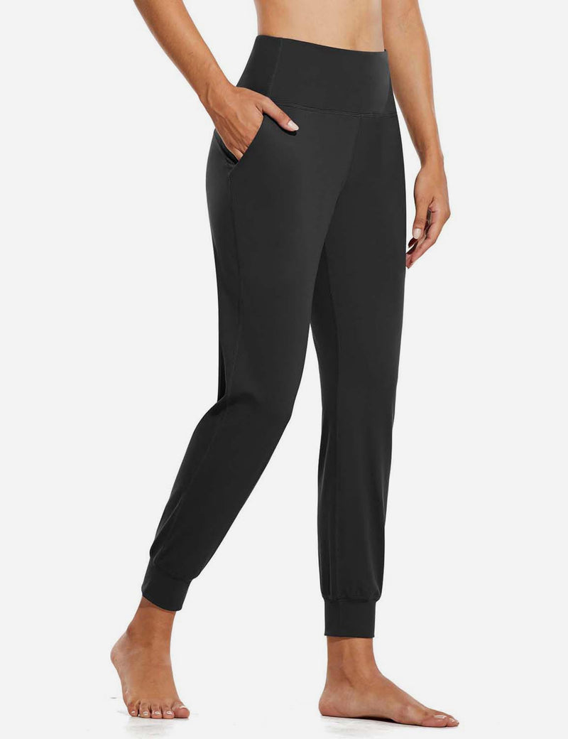 Baleaf Womens High Rise Double Brushed Tapered Side Pocketed Joggers Black Side