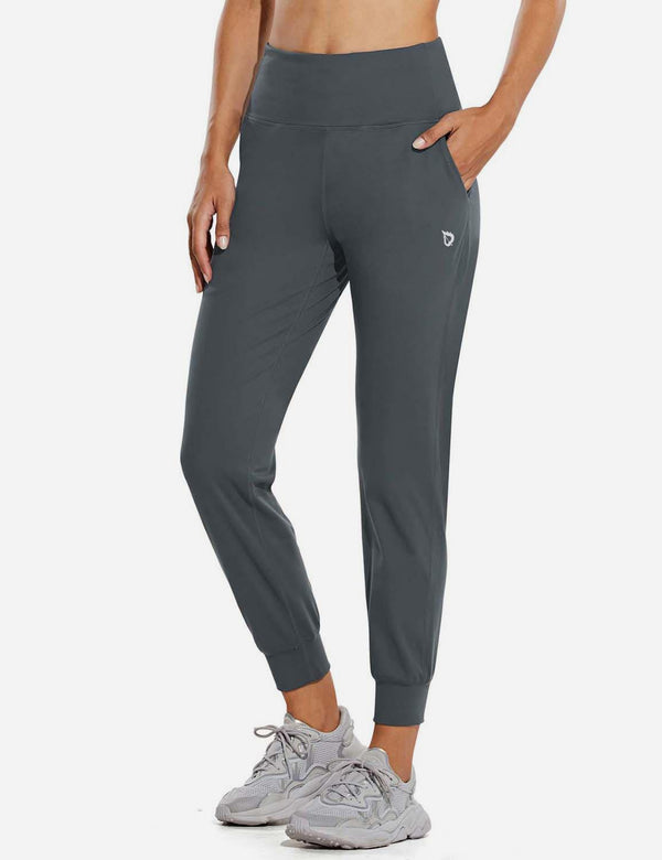 Baleaf Womens High Rise Double Brushed Tapered Side Pocketed Joggers Gray Front