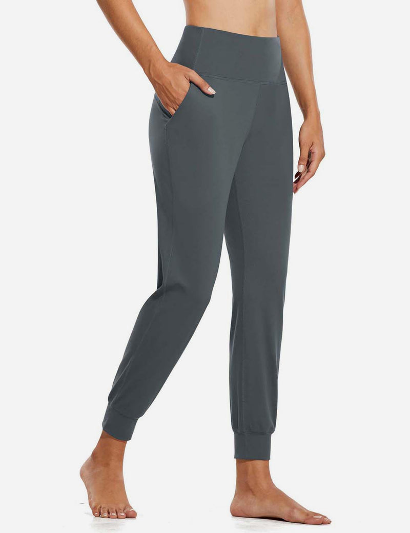 Baleaf Womens High Rise Double Brushed Tapered Side Pocketed Joggers Gray Side