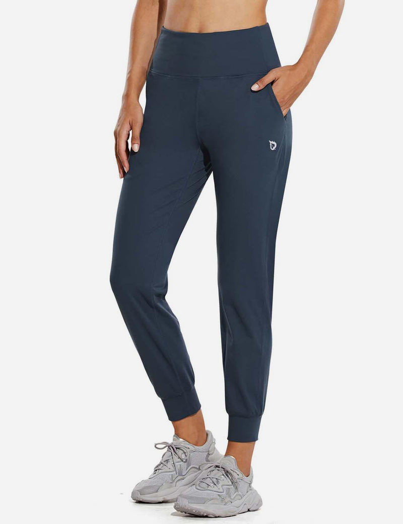 Baleaf Womens High Rise Double Brushed Tapered Side Pocketed Joggers Navy Front