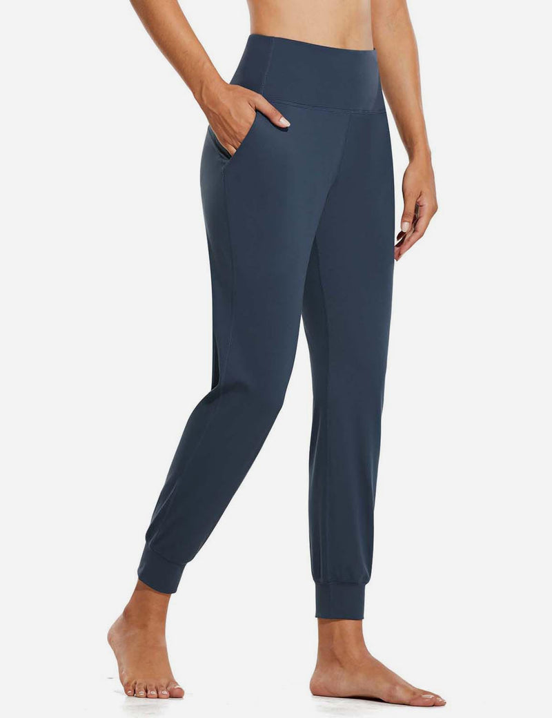 Baleaf Womens High Rise Double Brushed Tapered Side Pocketed Joggers Navy Side
