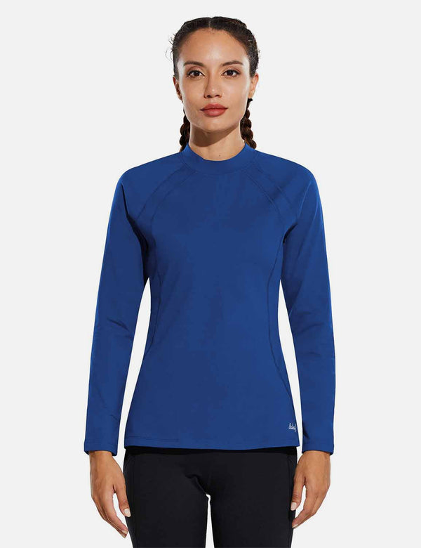 Baleaf Womens Micro Fleece Mock Neck Long Sleeved Raglan Pullover Blue Front