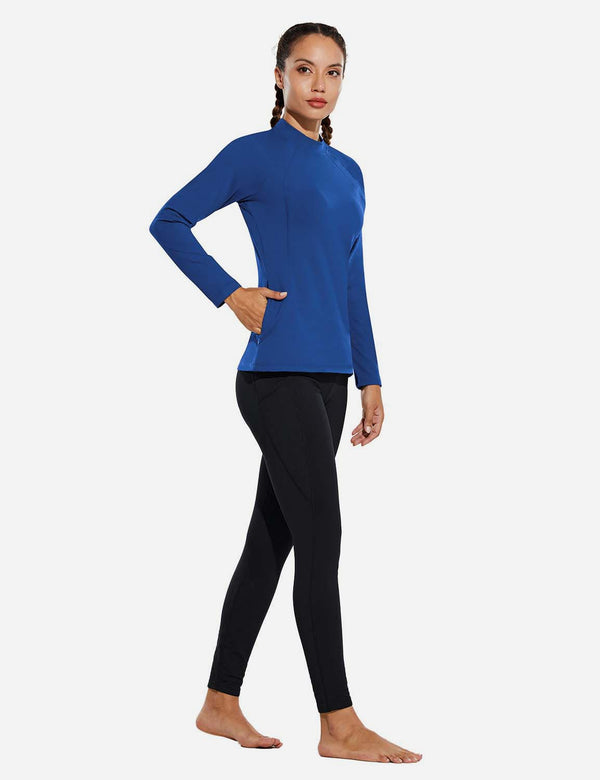 Baleaf Womens Micro Fleece Mock Neck Long Sleeved Raglan Pullover Blue Full