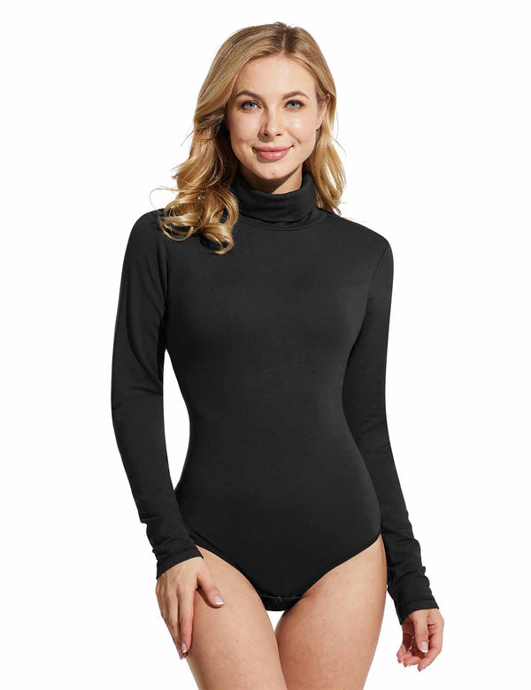 Baleaf womens turtleneck Long Sleeve Bodysuits Leotard Shirts Black front