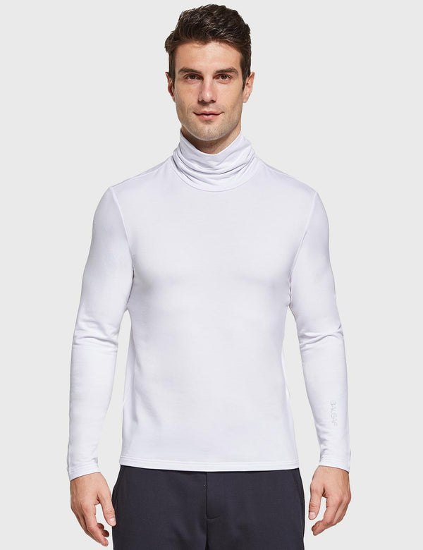 Baleaf Mens Body Fit Turtleneck Basic Baselayer White Front