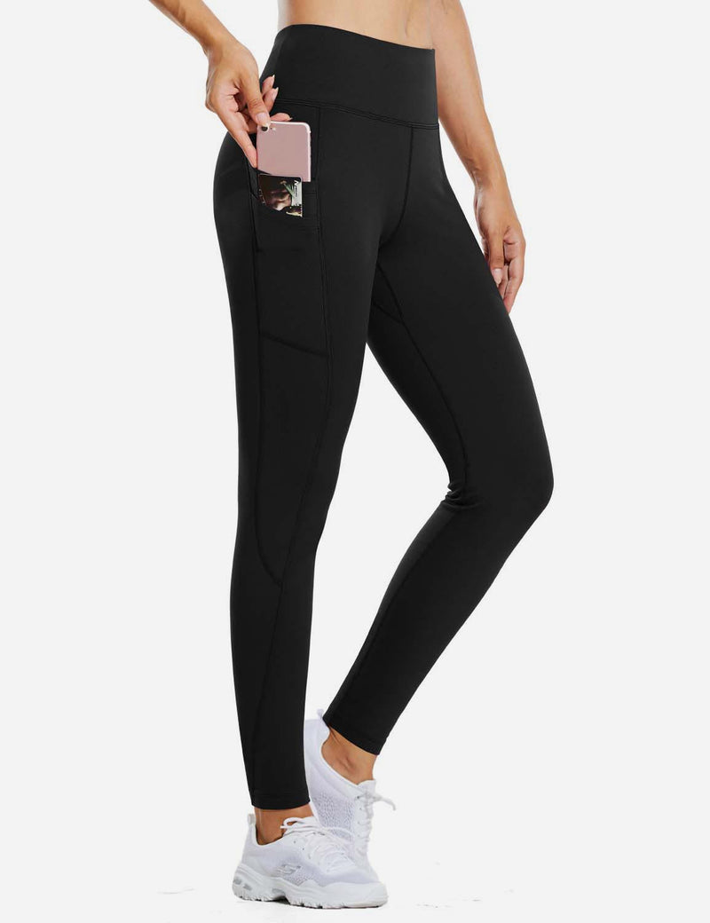 "Baleaf Womens 28"" Fleece Lined High Rise Tummy Control Pocketed Workout Leggings Black Front"