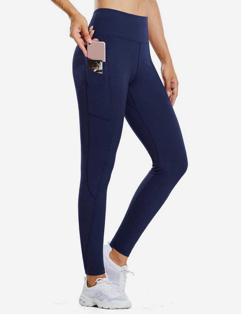 "Baleaf Womens 28"" Fleece Lined High Rise Tummy Control Pocketed Workout Leggings Navy Side"